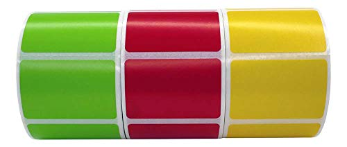 12 Rolls Color 1.5 x1 Direct Thermal 520 Labels per Roll; 4 of Each: RED, Green, Yellow Compatible with Zebra/Eltron- Labels - BPA Free!