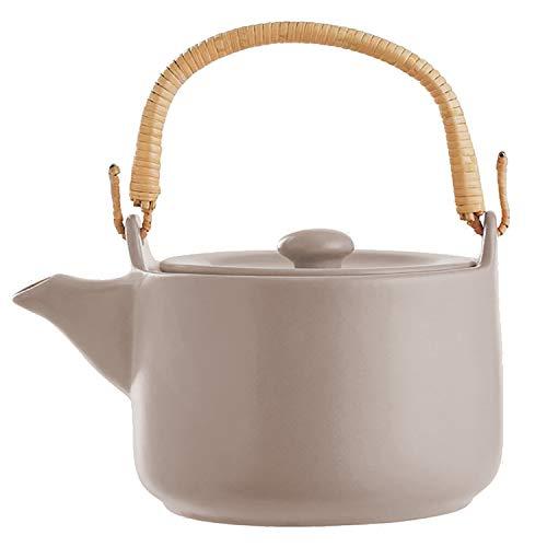 Teekanne 1L aus Steingut mit Bambus-Henkel, Teekessel Teebereiter Kanne mit Deckel, Farbe:Grau