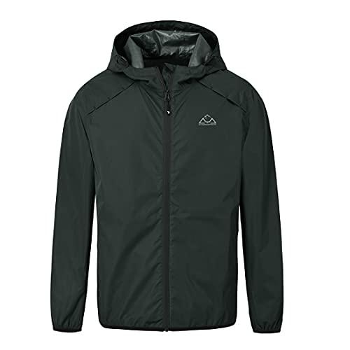 donhobo Herren Outdoor Regenjacke Einpackbar Wasserdicht Wetterschutz Jacke mit Kapuze Regenmantel (Schwarz, XL)