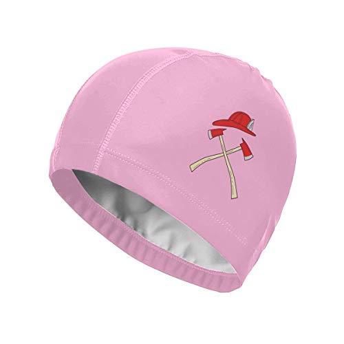 wu Fire Axe Swim Cap for Women Men - Cool Swimming Caps Waterproof UV Protection PU Bathing Caps