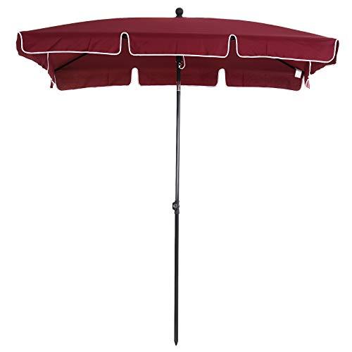 Outsunny Sombrilla Cuadrada Grande Parasol con Ángulo Ajustable para Patio Terraza o Jardín 198x130x240cm En Color Rojo Vino