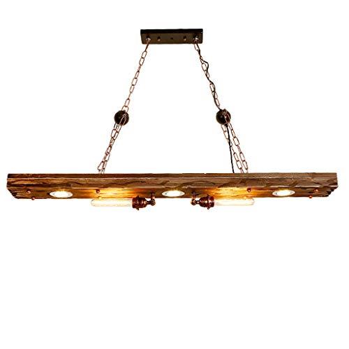 LJF lamp Lámparas colgantes de madera, estilo industrial, lámpara de araña para restaurante [Clase energética A++]