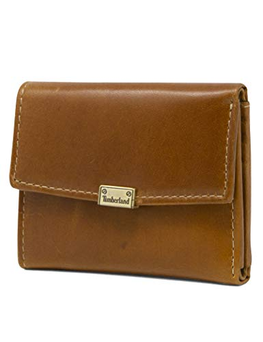 Timberland womens Leather RFID Small Indexer Snap Wallet Billfold, Cognac (Buff), One Size US