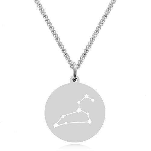 Timando Damen Kette Sternbild Löwe mit Gravur Sternzeichen Plättchen Anhänger Edelstahl
