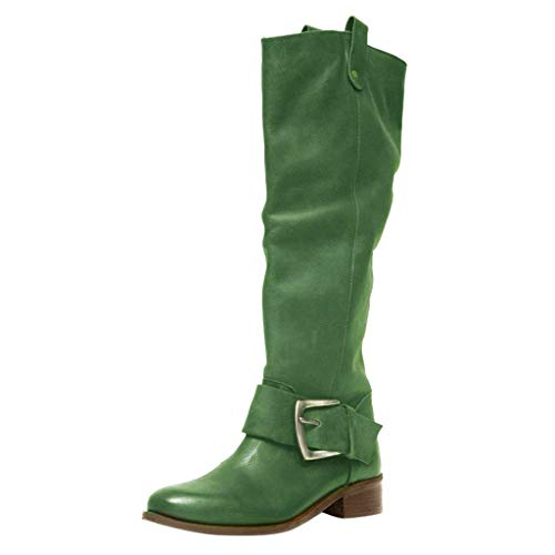 Dainzuy Women's Knee High Riding Boots Ladies Fashion Winter Buckle Thick Flat Heels Leather Boots Green