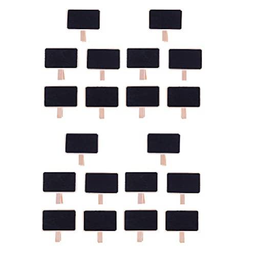 Qingsi 20 clips de fotos de madera negra con pizarra, clips de pizarra de madera, para colgar la imagen de bebé, manualidades, manualidades, decoración de bodas