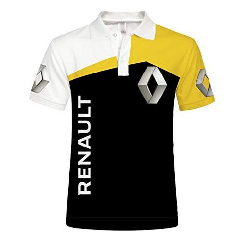 Unisex Herren Sommer Kurzarm Polo Shirt 3D Digital Renault Logo Print Top Lässig Sweatshirt (1,XL)