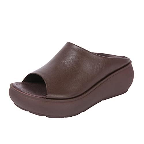 Sandalias Wave,Sandalias de Cuero con Mujer, Pendiente Retro con Fondo Grueso-marrón_36,Sandalias de Ducha de Verano