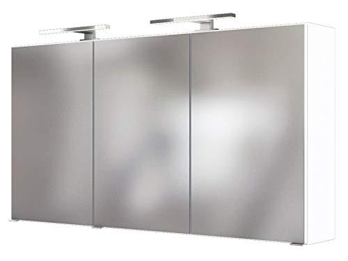 3D-Spiegelschrank Badschrank Hängeschrank Spiegel Wandschrank Badmöbel Baabe I Weiß 120 cm