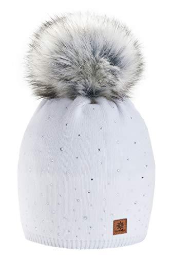 morefaz Wurm Winter Strickmütze Mütze Damen Kristalle Kiesel mit Große Bommel Pompon l SKI (White) (MFAZ Ltd)