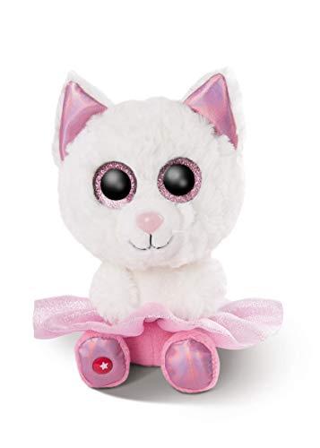 NICI 46866 Original-Glubschis Ballerina Katze Jenabell 25cm – Kuscheltier Augen – Flauschiges Plüschtier mit großen Glitzeraugen – Schmusetier für Kuscheltierliebhaber, WEIß/PINK