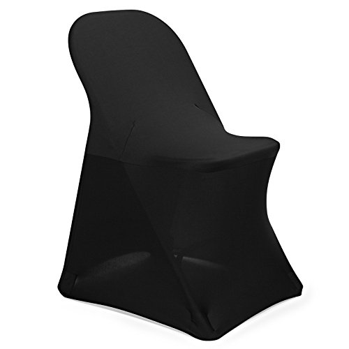 Lann's Linens 10 pcs Black Spandex Folding Chair Cover for Wedding, Party and Banquet