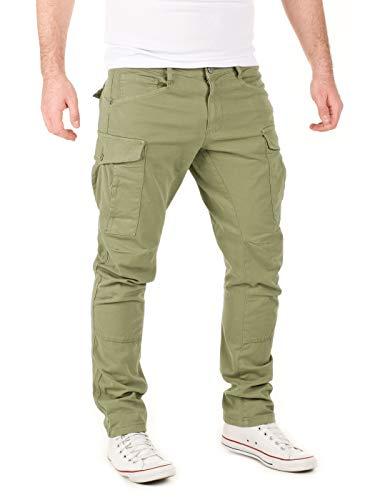 Yazubi Männer Cargo-Hose Jayden - Herren Taschen Chinos Cargohosen Oliv - Khaki Herrenhose Chino Men Pants, Grün (Dusky Green 170517), W33/L34