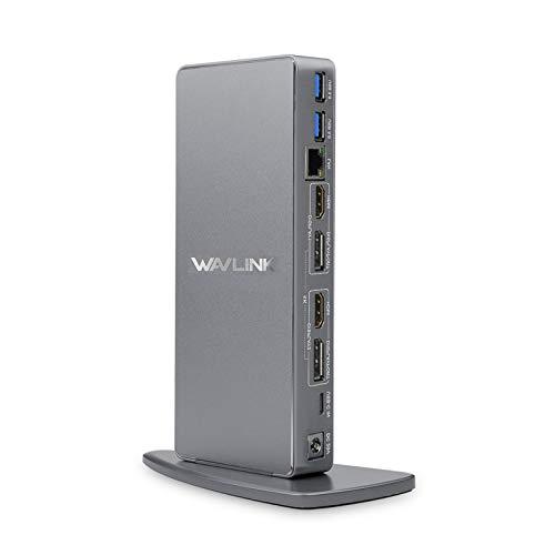 WAVLINK Aluminium USB C/USB 3.0 Dual 4K-Notebook-Dockingstation für Notebooks Unterstützt DisplayPort und HDMI für Windows oder MacOS (Gigabit-Ethernet, Audio, 6 USB-Anschlüsse)