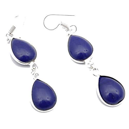 PENDIENTE de mujer de zafiro teñido azul 2,5 'Venta caliente joyería de arte hecha a mano chapada en plata esterlina tienda de variedad completa
