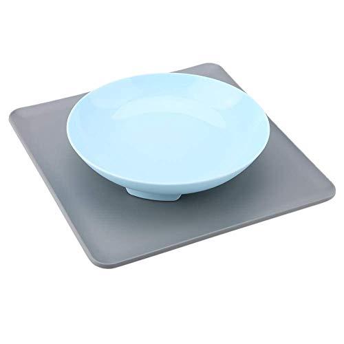 3 Colores de Silicona para Mascotas Bowl Simple Dog Cat Food Feeding Bowls extraíble Antideslizante Mascotas alimentador Lento con Mantel(Azul)