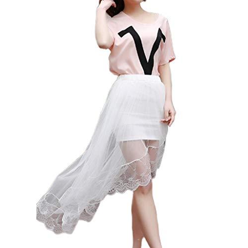 Siwetg dames meisjes zomer hoge taille mesh transparant Swallowtail Midi rok lang asymmetrisch kant feestelijke zoom partyjurk vouwjurk