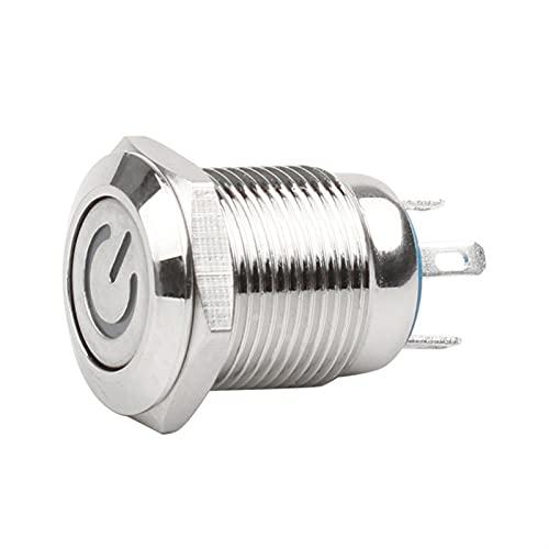 Botón Interruptor de botón de metal negro oxidado a prueba de 12mm con lámpara LED enclavadura momentánea PC Interruptor de alimentación 3V 5V 6V 12V 24V 220V ( Color : WP , Size : White )