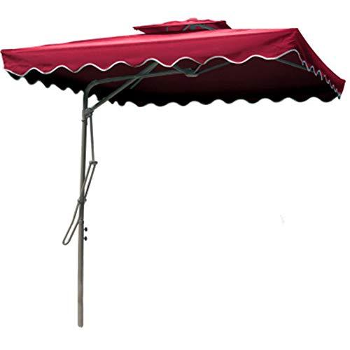 ZWSM Paraguas De Patio De 9 Pies Paraguas Cuadrado Al Aire Libre 4 Varillas Paraguas De Mercado Compensado Paraguas Resistente Al Viento para Jardín, Terraza, Patio, Piscina,Rojo