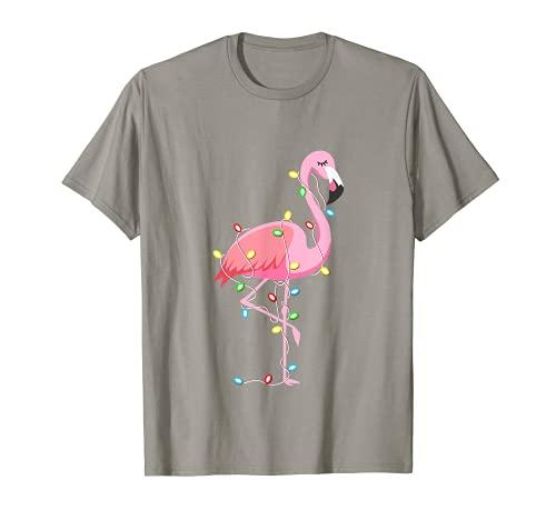 Luces de Navidad para amantes de flamencos divertido regalo de Navidad Camiseta
