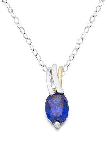 Miore Damen Halskette 9 Karat (375) Bicolor Saphir blau