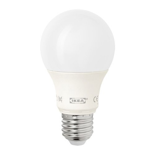 IKEA LEDARE - LED bulb E27, dimmable, globe opal white - 600 lm by Ikea