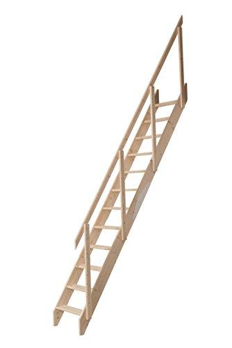 Raumspartreppe aus unbehandelter Fichte. Für Geschosshöhen bis 283,5 cm. Ausführung: Gerade inkl. Geländer mit zweigeteilter Wange. Einfache Montage. Belastbar bis 150 KG.