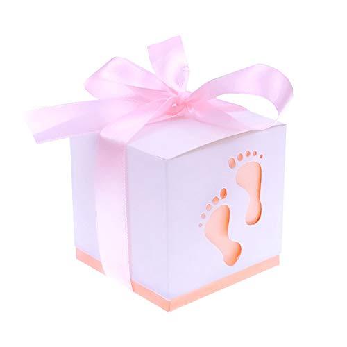 JZK® snoepgoed doos geschenkdoos gastgeschenk doopdoos snoepjes doos tafeldecoratie Favors Box voor bruiloft verjaardag party doop babyshower baby shower festival Roze voetafdruk.