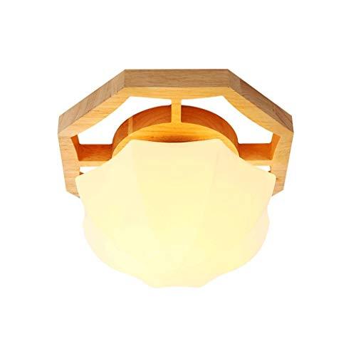 YANQING duurzame plafondlampen Scandinavische moderne massief hout LED plafondlamp, eenvoudige creatieve geometrische polygoon ontwerp, gepersonaliseerd slaapkamer balkon Aisle entree verlichting plafondlampen