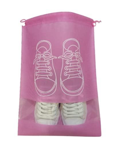 5 bolsas de viaje para zapatos portátiles, bolsa de almacenamiento, organizador de ahorro de espacio con ranura transparente, Pink, 44X32cm, Bolsa para zapatos