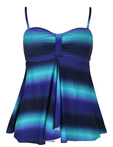 Hilor Women's Flyaway Tankini Top Bandeau Swimsuit Flowy Bathing Suit Black&Green 18