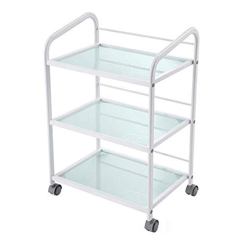 Portable Cart - GR/Carros de 3 estantes for Servicios de Belleza con Ruedas, Carro de Servicio médico de 3 Niveles con Bandeja de Vidrio - Blanco