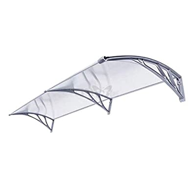 LPD Door Canopy Awning Shelter Outdoor Cover Door Window Garden Canopy Awning Window Rain Shelter Cover for Front Door Porch 2 Sizes (Color : Clear, Size : 80X100cm)