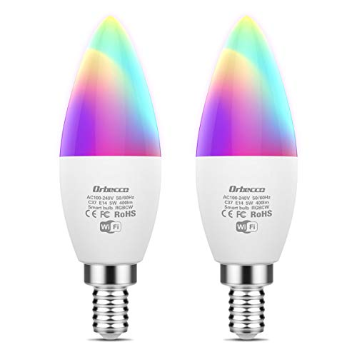 Orbecco Lampadina Smart LED E14 WiFi, [2 PACCHI] 5W Lampadina Colorate RGBW, Luce Calda e Fredda Dimmerabile Controllo Remoto Compatibile con Alexa Echo, Google Home - Bianco