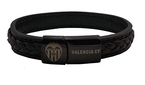 Pulsera Valencia C.F. Piel Negra con Ribete y Trenza superpuesta, Cierre Negro con Escudo y Letras grabadas