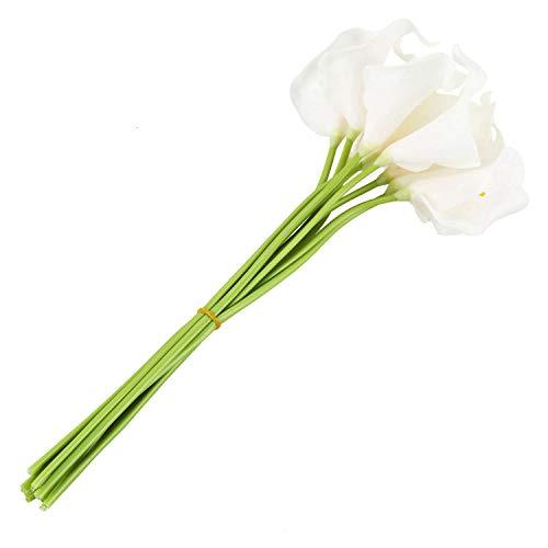 Xigeapg Ramo Nupcial de la Cala Blanca con 10 Flor Latex del Tacto Real KC51 para la Boda