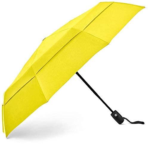 Ombrello da viaggio compatto EEZ-Y con struttura a doppia copertura antivento - Pulsante apri/chiudi automatico Facile da maneggiare Ombrelli pieghevoli ad apertura rapida (Yellow)