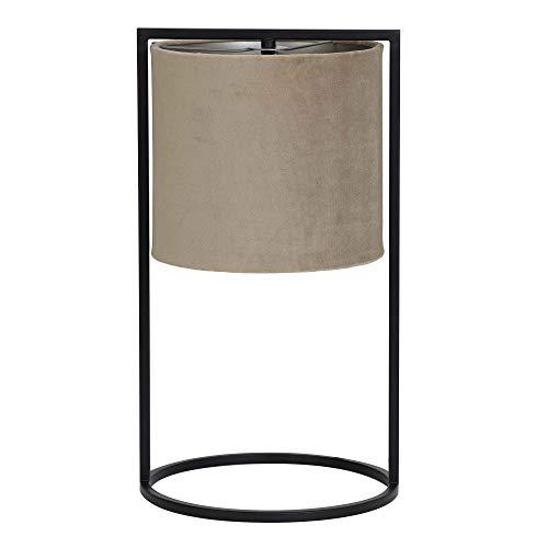 Light and Living Tischlampe 'Santos' Samtschirm hell-braun mit Metallfuß matt schwarz - moderne Tischleuchte Lampe Nachttischlampe Retro Design 45 cm