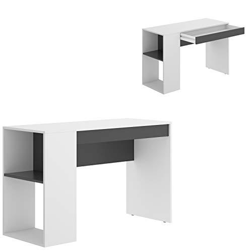 HABITMOBEL Mesa Escritorio, Mueble despacho Blanco Grafito, Medidas: Alto 74 cm x Ancho 115 cm x Fondo 50 cm