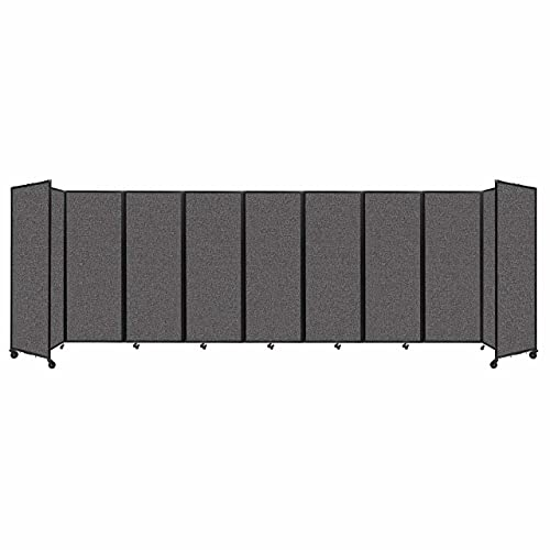Room Divider 360 Accordion Portable Wall Partition with Wheels 25' x 7'6' Charcoal Gray Fabric