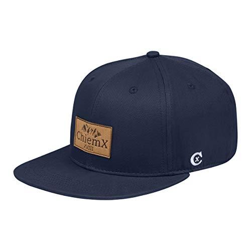 ChiemX Snapback Cap - Blau/Navy - aus Baumwolle und mit Kunstlederpatch - One Size Kappe für Herren und Damen
