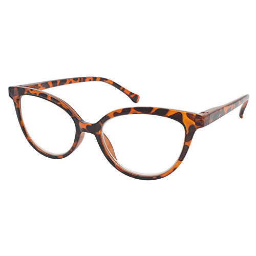 TBOC Gafas de Lectura Presbicia Vista Cansada - Graduadas +2.00 Dioptrías Montura de Pasta [Carey] de Diseño Moda para Mujer Lentes de Aumento para Leer Ver de Cerca con Bisagra Muelle