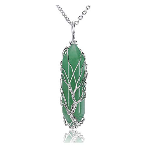 JOVIVI Tree of Life Green Aventurine Crystal Gemstone Pendant Necklace Silver Wire Wrapped Healing Point Chakra Quartz Stone Necklace for Women Men