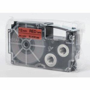 Casio Schriftbandkassette XR-12 RD 12mm schwarz auf rot