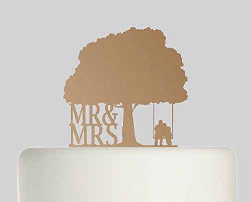 Bride And Groom Mr & Mrs Couple on Swing under Oak Tree Wedding Cake Topper Acrylic Cake Topper - Bronze Mirror Acrylic