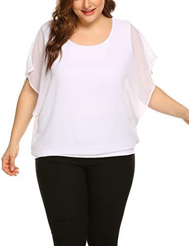 Women's Plus Size Loose Casual Short Sleeve Chiffon Top T-Shirt Blouse (White, 4X)