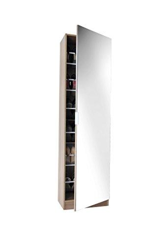 Panoply Furnishings 6ft Mirrored Shoe Cabinet in White, Black or Oak - Shoe Storage Rack Organiser (Oak)