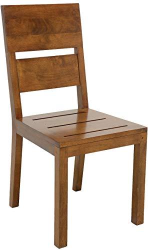 Destock Meubles - Sedia in legno massello con seduta in legno di quercia