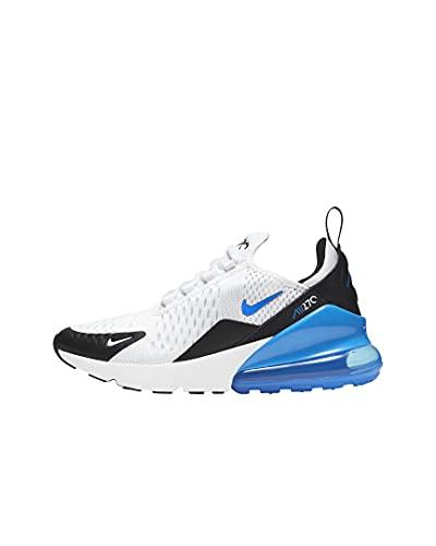 Nike AIR MAX 270 (GS) Laufschuh, White Signal Blue Black, 39 EU
