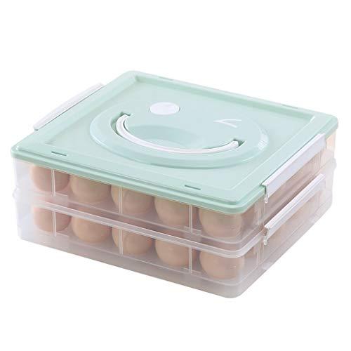 Huevera portátil Apilable cubierto sostenedor de la bandeja de huevos con la tapa y la manija, huevos contenedor de almacenamiento y organizador for el refrigerador, Muti-Capa Envase para huevos